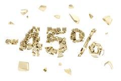 Minus fünfundvierzig Prozent Rabattemblemzusammensetzung lokalisiert Lizenzfreies Stockbild