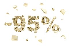 Minus ninety five percent discount emblem composition isolated. Minus ninety five percent discount emblem composition made of broken into golden pieces metallic Vector Illustration
