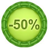 Minus 50 percent. Abstract green label isolated on white background Royalty Free Illustration