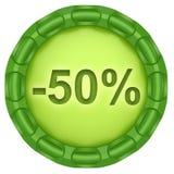 Minus 50 percenten Stock Foto