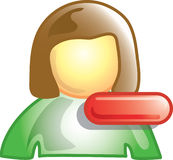 Minus person icon. Minus or subtract person symbol. Can be used for networks or contacts Stock Images