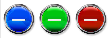 Minus Sign 3-D RGB Button. Blue, Green and Red 3-D circle web buttons with steel border Stock Photo