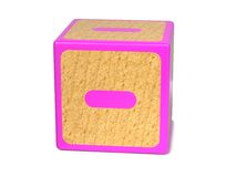 Minus Sign - Childrens Alphabet Block. Stock Photos
