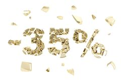 Minus thirty five percent discount emblem composition isolated. Minus thirty five percent discount emblem composition made of broken into golden pieces metallic Royalty Free Stock Photo