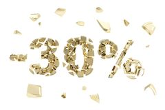 Minus thirty percent discount emblem composition isolated. Minus thirty percent discount emblem composition made of broken into golden pieces metallic symbols Stock Image