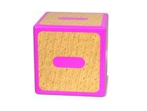Minuszeichen - das Alphabet-Block der Kinder. Stockfotos