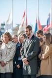Minut av tystnad i hedersgåva till offren av Paris på Counen Royaltyfri Fotografi