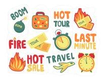 Minut för klistermärkepackesist ställ in rabatter för turist- turer Loppsista-minut försäljning royaltyfri illustrationer