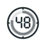 48 minut ikona odizolowywająca na tle, zegarze i watc białych, royalty ilustracja