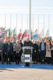 Minute de silence dans l'hommage aux victimes de Paris, le Conseil de Photographie stock libre de droits