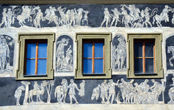 The Minute House facade detail, Prague. The Minute House facade detail - Prague famous historical sights. Is located on your left as you enter Old Town Square Royalty Free Stock Images