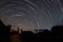 A 100 minute long star-trail. Photo from Kanakapura, Karnataka, India Stock Photos