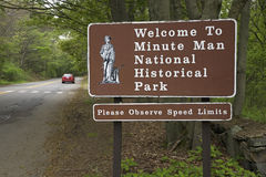 Minute Man National Park. Welcome to Minute Man National Historic Park, near Lexington/Concord MA for the Revolutionary War Stock Image