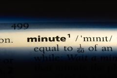 Minute. Word in a dictionary.  concept stock image