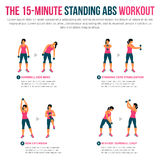 15 minute standing abs workout. Fitness, Aerobic and workout exercise in gym. Vector set of gym icons in flat style isolated on white background. People in gym vector illustration
