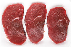Minute steaks in a butchers tray. Three raw minute steaks displayed in a butcher's polystyrene tray Royalty Free Stock Image