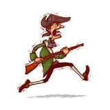 Minuteman running with musket. American patriot minuteman running with a musket in his hand Royalty Free Stock Image