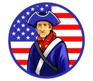 Minutemen americani in bandiera di forma del cerchio illustrazione vettoriale