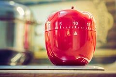 10 minuter - röd kökäggklocka på Cooktop bredvid en kruka Royaltyfria Bilder