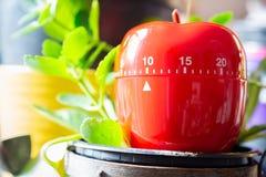 10 minuter - röd kökäggklocka som förläggas på en blomkruka Royaltyfri Fotografi