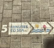 5 minuter till havet - en trottoar i telefon Aviv Directs People till det medelhavs- Arkivbild