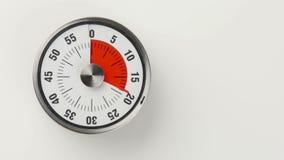 Minuterie analogue de compte à rebours de cuisine de vintage, 60 minutes dans le tir de laps de la deuxième fois 20 illustration stock