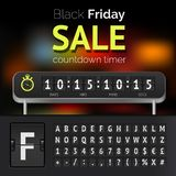 Minuterie de compte à rebours de vente de Black Friday Illustration de Vecteur