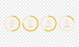 Minuterie de compteur d'horloge de compte à rebours de vecteur Le compte numérique d'UI entourent vers le bas le mètre de conseil illustration libre de droits