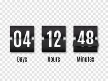 Minuterie noire de compte à rebours avec les nombres blancs d'isolement sur le fond transparent Compteur d'horloge Vecteur illustration stock