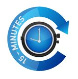 15 minutes alarm watch time concept illustration. Isolated over white Royalty Free Stock Images