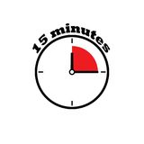 15 minutes clock dial. Simple, flat, with red zone Stock Illustration
