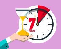 7 Minutes on Clock Vector Flat Design Seven Minute Icon stock illustration