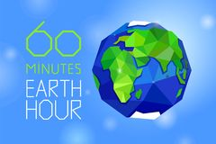 60 minutes Earth hour banner. 60 minutes Earth hour web banner or poster. Earth and letters on blue sky. Geometric and polygonal style Royalty Free Stock Photos
