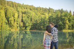 Minutes of happiness with lovers. favourite place for rest royalty free stock photography