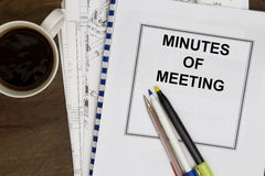 Minutes of meeting Stock Image