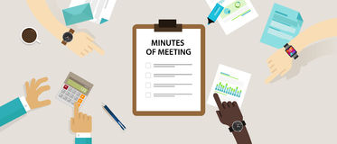 Minutes of meeting document paper write pen about summary of communication in office. Vector Stock Image