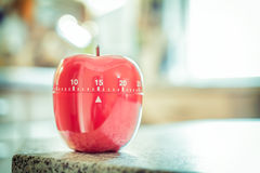 15 Minutes - Red Kitchen Egg Timer In Apple Shape Stock Photography