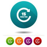15 Minutes rotation icon. Timer symbol sign. Web Button. Eps10 Vector set Stock Photos