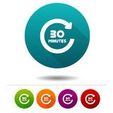 30 Minutes rotation icon. Timer symbol sign. Web Button. Eps10 Vector Royalty Free Stock Images
