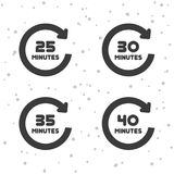 25, 30, 35 and 40 Minutes rotation icons. Timer symbols. Eps10 Vector Royalty Free Stock Image