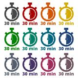 30 minutes stopwatch symbol, Timer icons set. Icon Royalty Free Stock Images