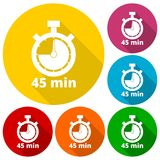 45 minutes stopwatch symbol, Timer icons set with long shadow Royalty Free Stock Photography