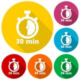 30 minutes stopwatch symbol, Timer icons set with long shadow. Vector icon Stock Images