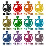 45 minutes stopwatch symbol, Timer icons set Stock Images