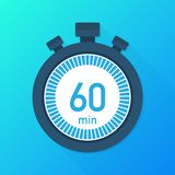 The 60 minutes, stopwatch vector icon. Stopwatch icon in flat style, timer on on color background. Vector illustration. The 60 minutes, stopwatch vector icon vector illustration