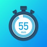 The 55 minutes, stopwatch vector icon. Stopwatch icon in flat style, timer on on color background. Vector illustration. The 55 minutes, stopwatch vector icon royalty free illustration