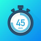 The 45 minutes, stopwatch vector icon. Stopwatch icon in flat style, timer on on color background. Vector illustration. The 45 minutes, stopwatch vector icon stock illustration