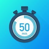 The 50 minutes, stopwatch vector icon. Stopwatch icon in flat style, timer on on color background. Vector illustration. The 50 minutes, stopwatch vector icon vector illustration