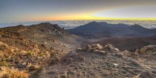 Minutes before sunrise at Haleakala Crater on Maui Royalty Free Stock Images