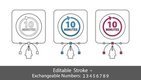 10 Minutes Symbol - Outline Styled Icon - Editable Stroke And Exchangeable Numbers - Vector Illustration - Isolated On White Backg. Round vector illustration
